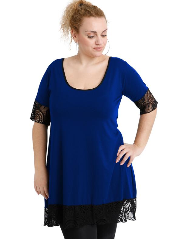 A20-276D Evaze blousedress with lace - Royal Blue
