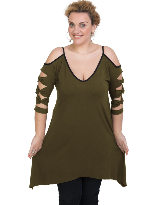 A20-282 Evaze blousedress - Khaki Dark