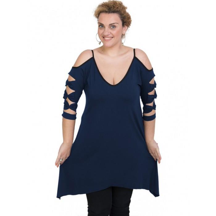 A20-282 Evaze blousedress - Navy Blue