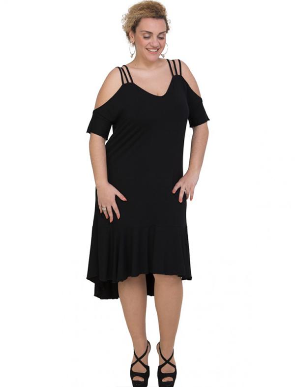 A20-293F Long dress - Black