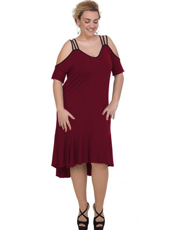 A20-293F Long dress - Bordeaux