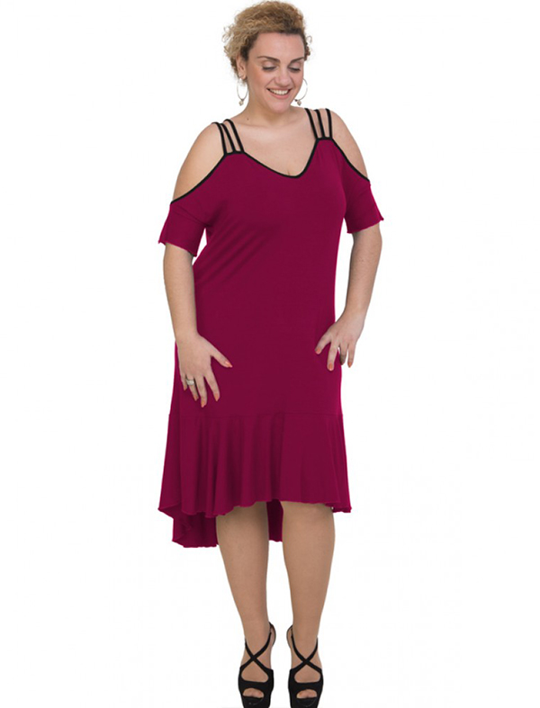 A20-293F Long dress - Fuchsia