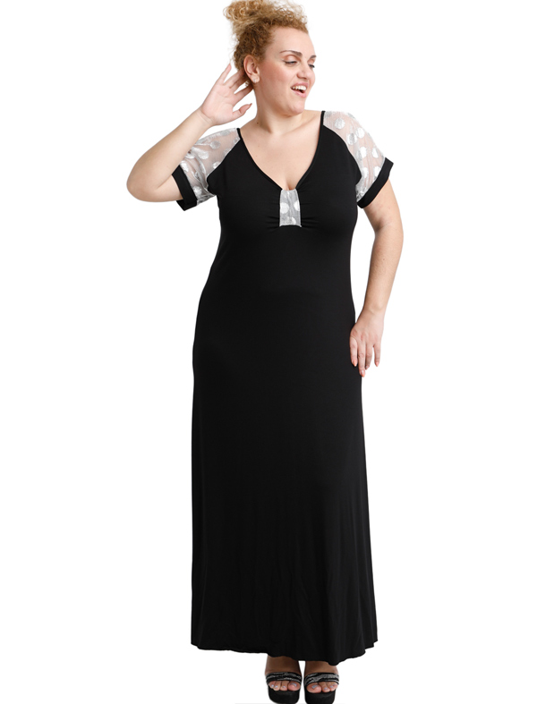 A20-4179F Long dress - Black