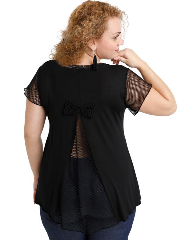 A20-5589 Evaze blouse with net on the back - Black
