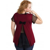 A20-5589 Evaze blouse with net on the back - Bordeaux