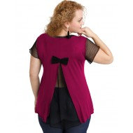A20-5589 Evaze blouse with net on the back - Fuchsia