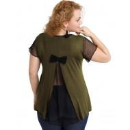 A20-5589 Evaze blouse with net on the back - Khaki