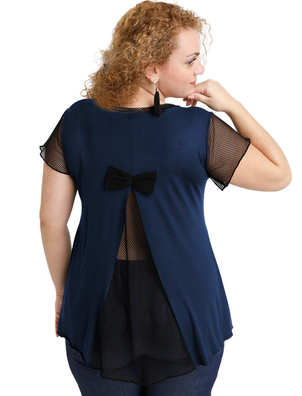 A20-5589 Evaze blouse with net on the back - Navy Blue