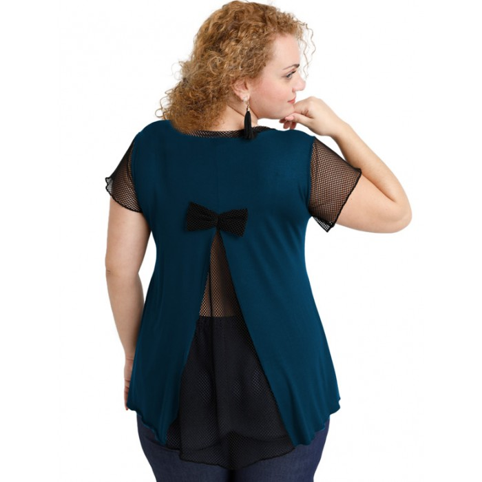 A20-5589 Evaze blouse with net on the back - Petrol