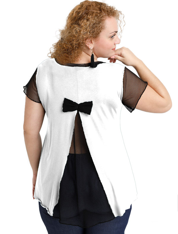 A20-5589 Evaze blouse with net on the back - White