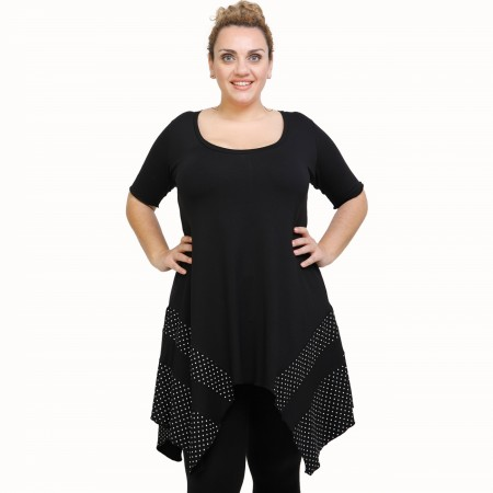 A21-417 Blouse with pattern - Black