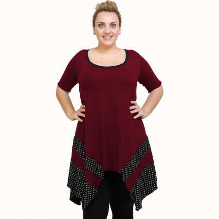 A21-417 Blouse with pattern - Bordeaux