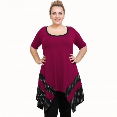 A21-417 Blouse with pattern - Fuchsia