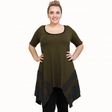 A21-417 Blouse with pattern - Khaki