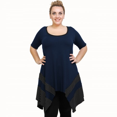 A21-417 Blouse with pattern - Navy Blue