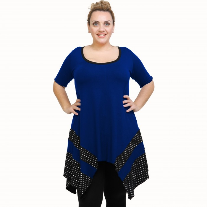 A21-417 Blouse with pattern - Royal Blue
