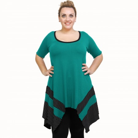 A21-417 Blouse with pattern - Turquoise