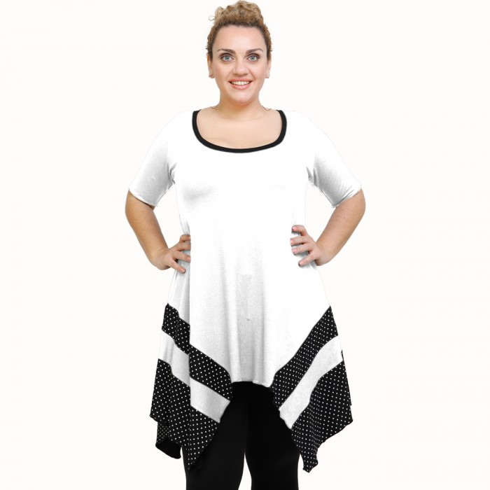 A21-417 Blouse with pattern - White