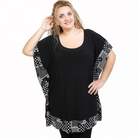 A21-4634U Bat Sleeve Blouse - Black