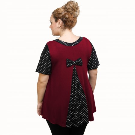 A21-489 Blouse with pattern - Bordeaux