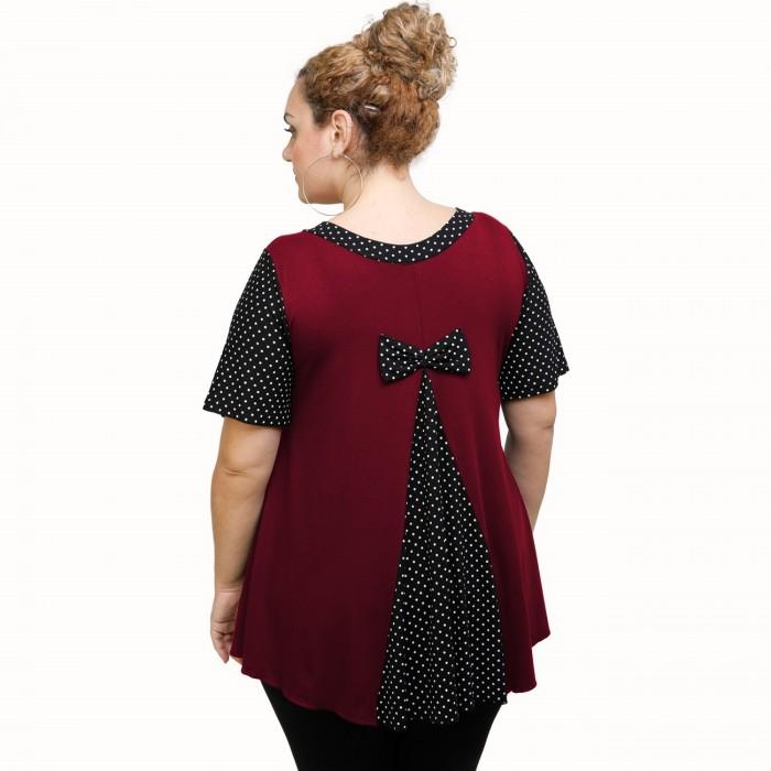 A21-489 Blouse with pattern - Bordeaux