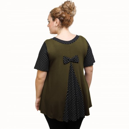 A21-489 Blouse with pattern - Khaki