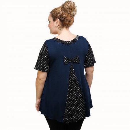 A21-489 Blouse with pattern - Navy Blue