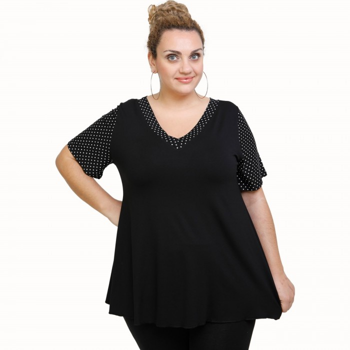 A21-489 Blouse with pattern - Black