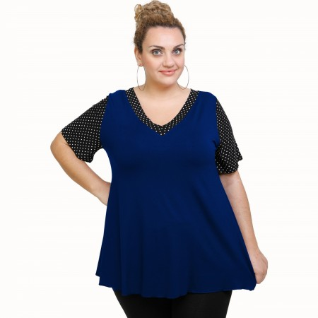 A21-489 Blouse with pattern - Royal Blue