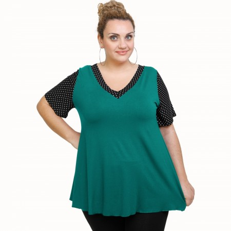 A21-489 Blouse with pattern - Turquoise