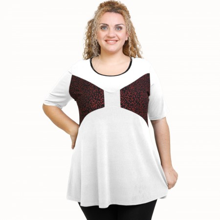 A21-511L Blouse with pattern - White