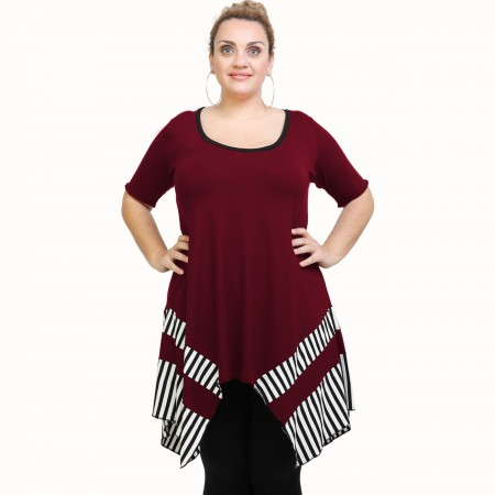 A21-517 Blouse with pattern - Bordeaux