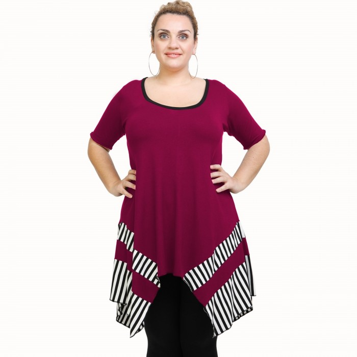 A21-517 Blouse with pattern - Fuchsia