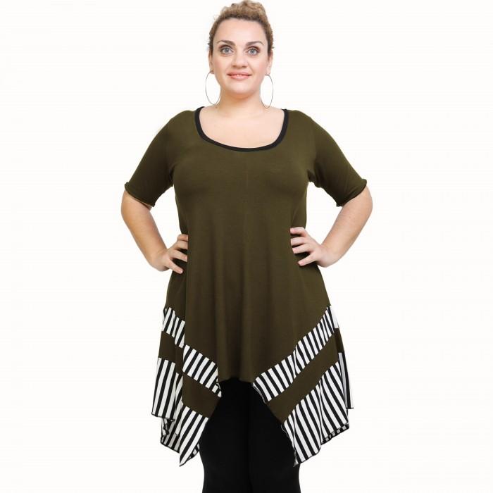 A21-517 Blouse with pattern - Khaki