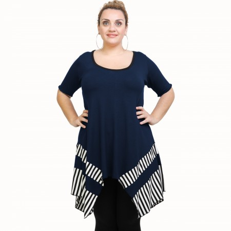 A21-517 Blouse with pattern - Navy Blue