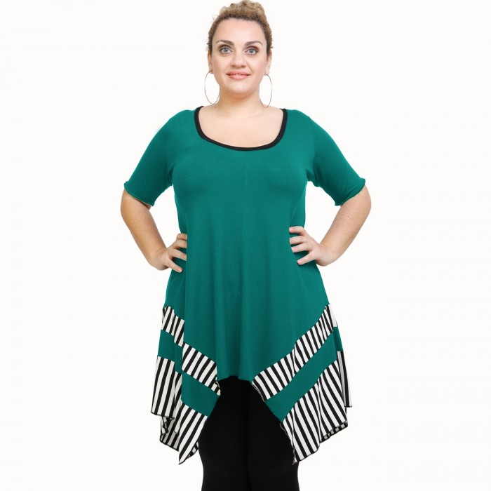 A21-517 Blouse with pattern - Turquoise
