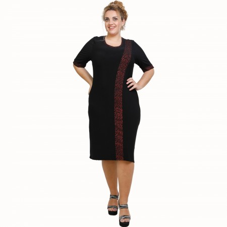 A21-529L Classic Dress with Lurex stripe - Black