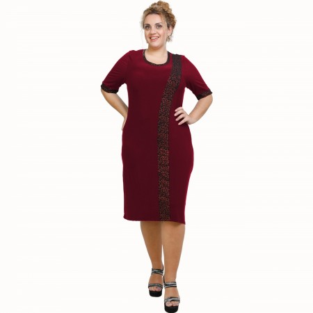 A21-529L Classic Dress with Lurex stripe - Bordeaux