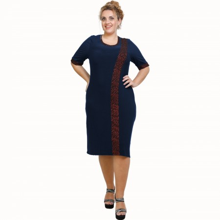 A21-529L Classic Dress with Lurex stripe - Navy Blue