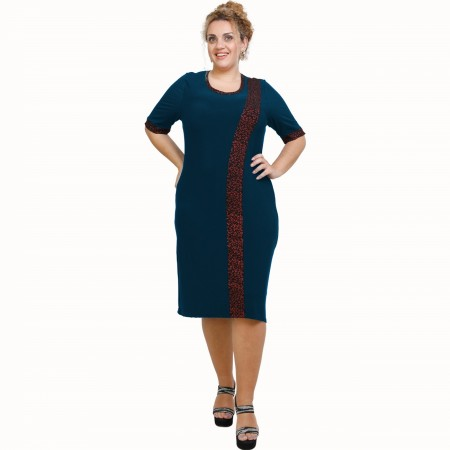 A21-529L Classic Dress with Lurex stripe - Petrol
