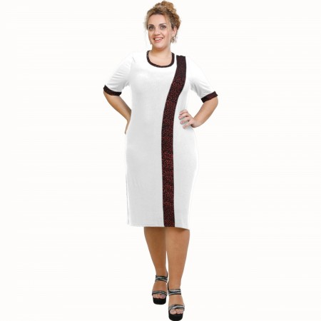 A21-529L Classic Dress with Lurex stripe - White