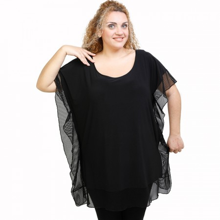A21-5534U Bat Sleeve Blouse - Black