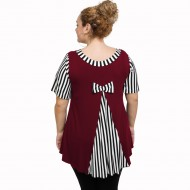 A21-589 Blouse with pattern - Bordeaux