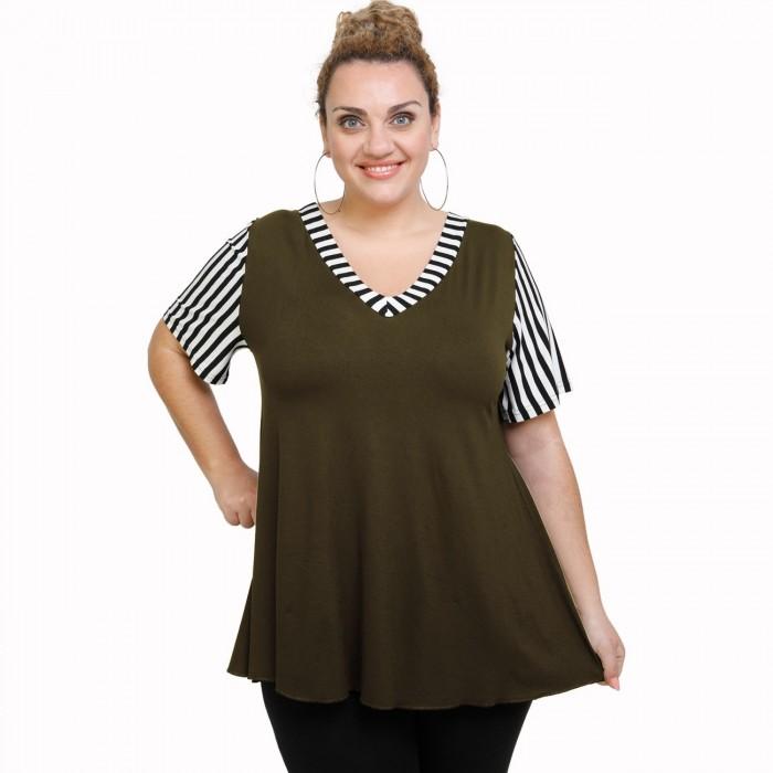 A21-589 Blouse with pattern - Khaki