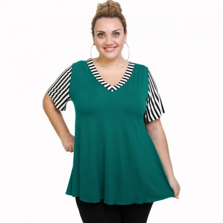 A21-589 Blouse with pattern - Turquoise