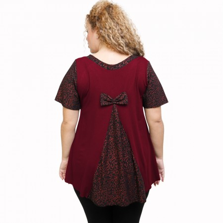 A21-589L Blouse with pattern - Bordeaux