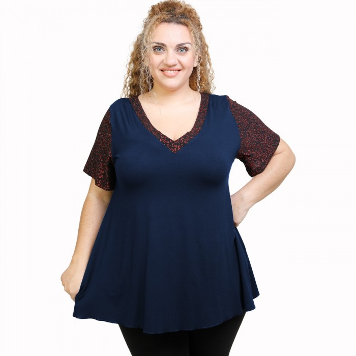 A21-589L Blouse with pattern - Navy Blue