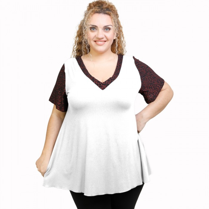 A21-589L Blouse with pattern - White
