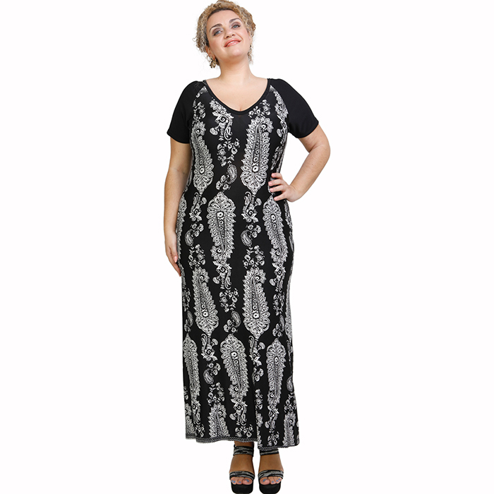A21-7423FK Long Jersey Dress with pattern