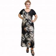 A21-7523FK Long Jersey Dress with pattern